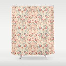 Scandinavian Floral Birds - Pastel Pink Shower Curtain