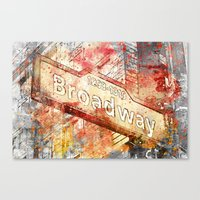broadway Canvas Prints featuring Broadway  by LebensART