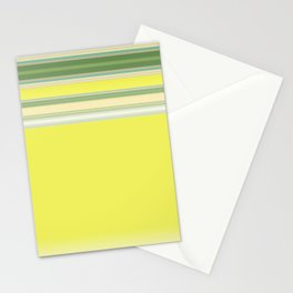 Bright Yellow Green Stripes Stationery Cards
