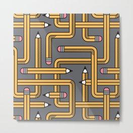 Pencil Maze Pattern pastel grey yellow Metal Print