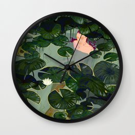 Mermaid in a pond Wall Clock