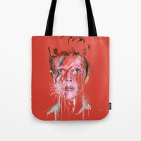 bowie Tote Bags featuring Bowie by Marcello Castellani