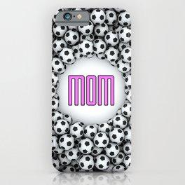 Soccer Mom / 3D render of hundreds of soccer balls framing Mom text iPhone Case
