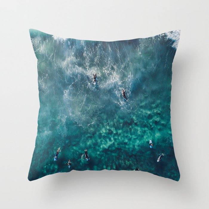 Surfing in the Ocean 2 Throw Pillow