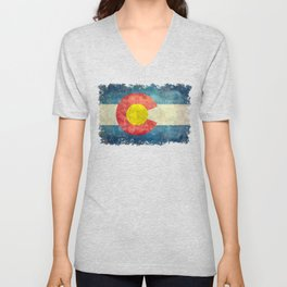 Colorado State flag, Vintage retro style Unisex V-Neck