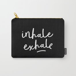 Inhale Exhale black-white typography poster black and white design bedroom wall home decor Carry-All Pouch