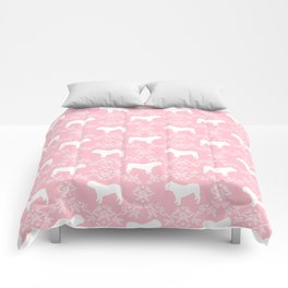 English Bulldog silhouette florals pink and white minimal dog breed pattern print gifts bulldogs Comforters