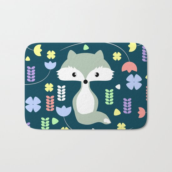 Fox among flowers Bath Mat
