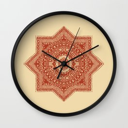 The Red Moroccan Pattern Wall Clock