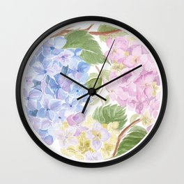 Watercolour hydrangea circle Wall Clock