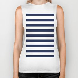 Nautical Navy Blue and White Stripes Biker Tank