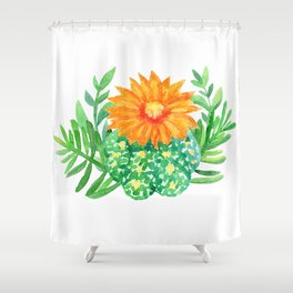Watercolor cactus and leaves Shower Curtain