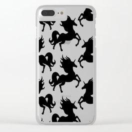 Simple Black Unicorn Clear iPhone Case