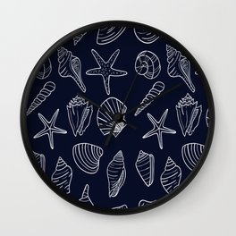 Navy Blue And White Seashell pattern Wall Clock