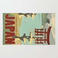 kaiju Area & Throw Rugs featuring Kaiju Travel Poster by Duke Dastardly