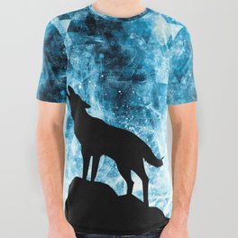 Howling Winter Wolf snowy blue smoke All Over Graphic Tee