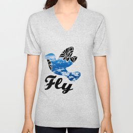 Flying Bird with Clouds Unisex V-Neck