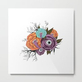 Flowers With Eyes   Halloween Flower With Tongue Metal Print