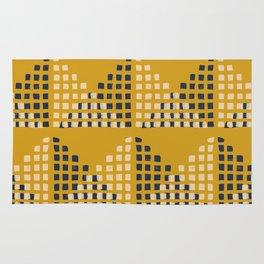 Layered Geometric Block Print in Mustard Rug