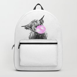 Bubble Gum Highland Cow Black and White Backpack