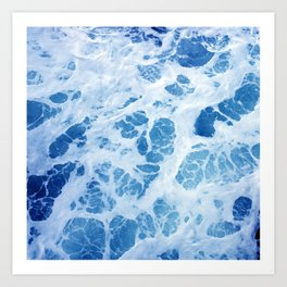 Swirling Ocean Surf in Elegant Blues Art Print