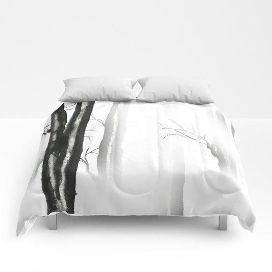 wood, snow and fog Comforters
