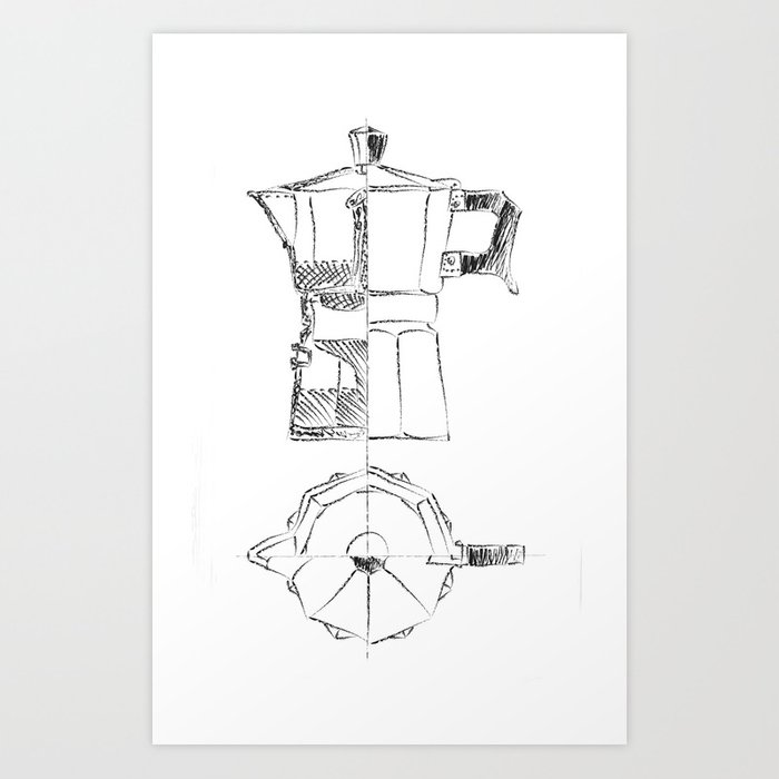 Coffee pot blueprint sketch art print by eltina society6 coffee pot blueprint sketch art print malvernweather Gallery
