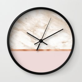 Caramel marble on rose gold blush Wall Clock