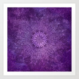 star mandala deep in the dark purple dream Art Print