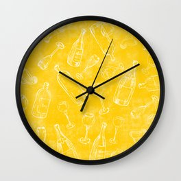 Bottles&Glasses Yellow Wall Clock
