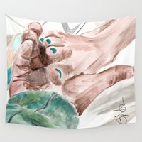 lebowski Wall Tapestries featuring Bunny Lebowski by Gregory Nordquist