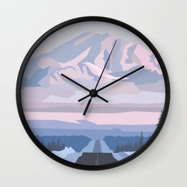 On the way to snowy mountain, minimalism in nature. Wall Clock