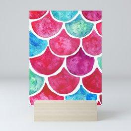 Mermaid Scales Scarlett Red & Turquoise Mini Art Print