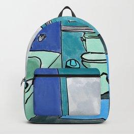 Aqua Bathroom Illustration Backpack