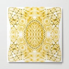 Yellow Zentangle Tile Doodle Design Metal Print