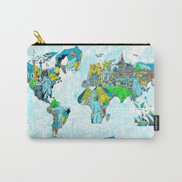 World map landmark collage 4 Carry-All Pouch