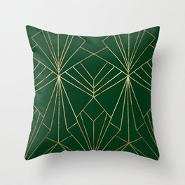 Art Deco in Gold & Green - Large Scale Throw Pillow