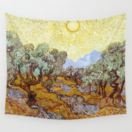 1889-Vincent van Gogh-Olive Trees with yellow sky and sun-73,66x92,71 Wall Tapestry