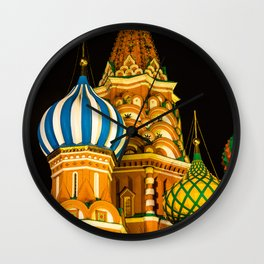 Domes of St. Basil's Cathedral on red square Wall Clock