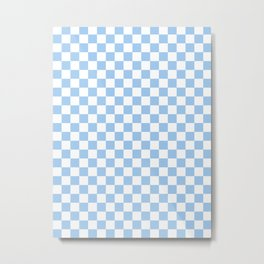 Small Checkered - White and Baby Blue Metal Print