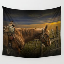 Saddle Horse on the Prairie Wall Tapestry