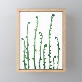 green fern watercolor Framed Mini Art Print