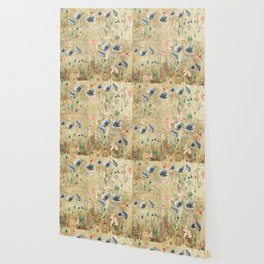 Fishes & Garden #Gold-plated Wallpaper