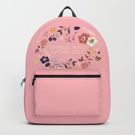 Things will work out - flowers and type Backpack