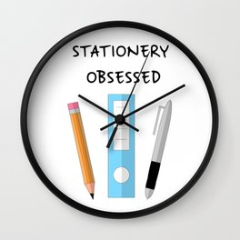 Stationery Obsessed Wall Clock