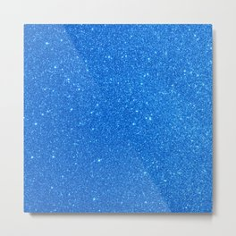 Blue Zircon December Capricorn Birthstone Shimmery Glitter Metal Print