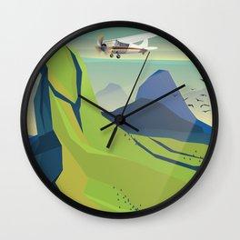 machu picchu travel poster Wall Clock