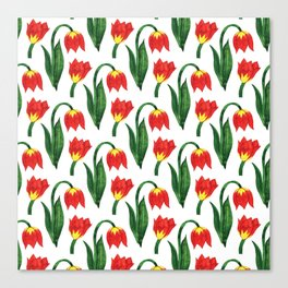 Hand painted orange yellow green watercolor tulips Canvas Print