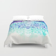 Indigo & Aqua Abstract - doodle painting Duvet Cover