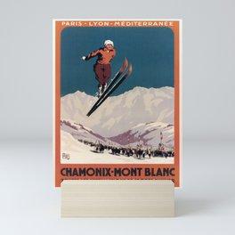 retro vintage chamonix mont blanc toutes les installations de sports dhiver plm poster Mini Art Print